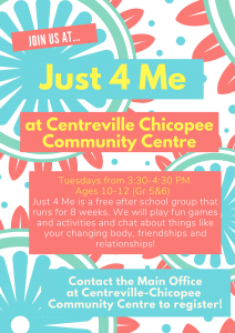 Just 4 Me @ Centreville Chicopee Community Centre